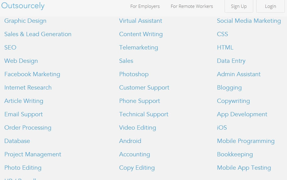 Screenshot showing a Outsourcely list of categories for remote workers