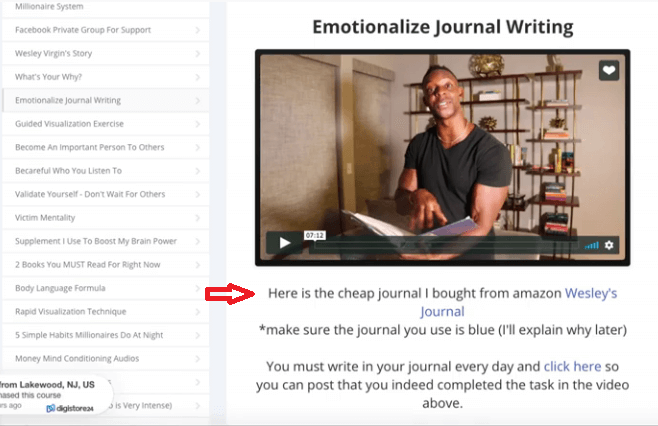 The emotionalize journal writing section where Wesley is asking you to buy a book on Amazon