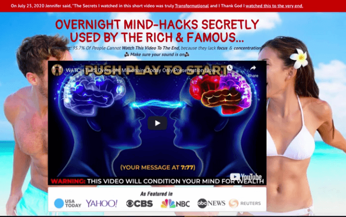 The overnight millionaire sales page showing 2 brains facing each other