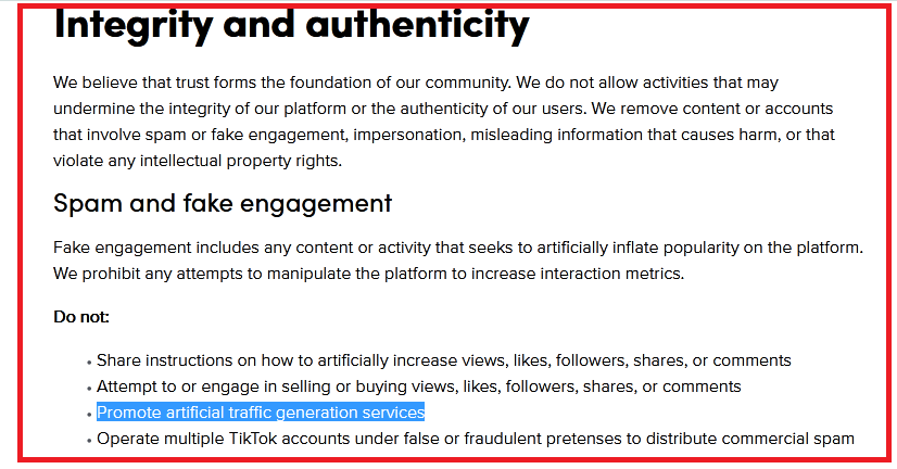 TikTok community guidelines on Integrity and authenticity