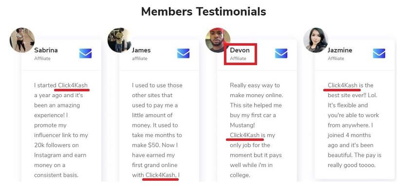others fake testimonials coming from the Click4Kash website with the same people that gave testimonials in the earnbucks website