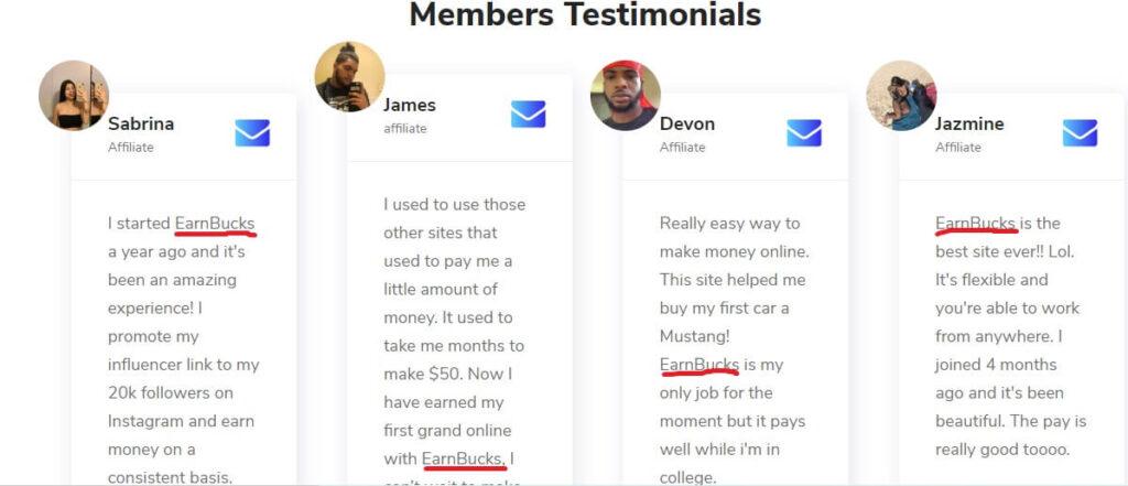 earn bucks fake testimonials