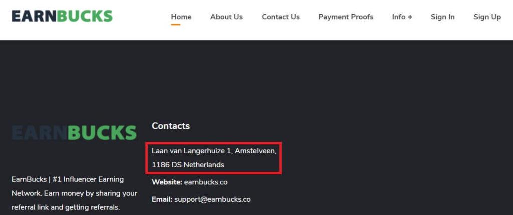 The earnbucks company address