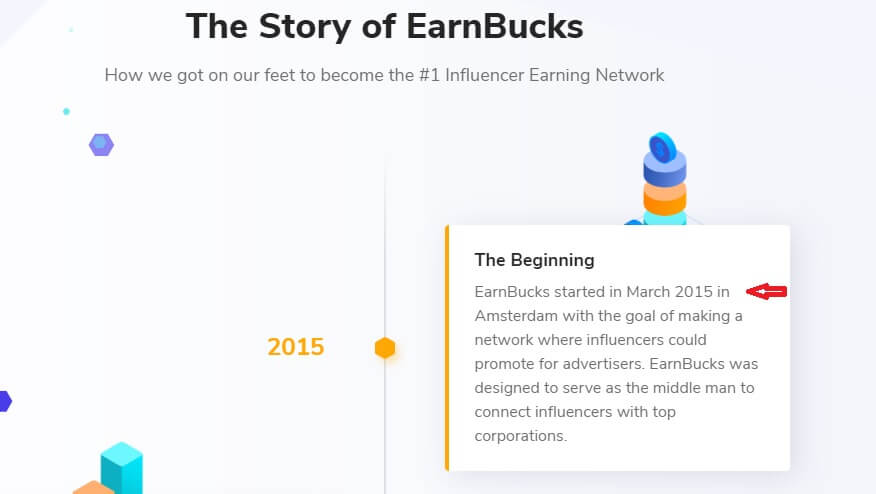 A screenshot of the EarnBucks website stating that they started in 2015