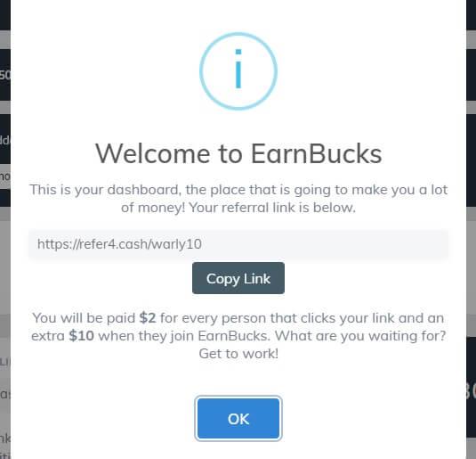 the welcome message inside the EarnBucks app