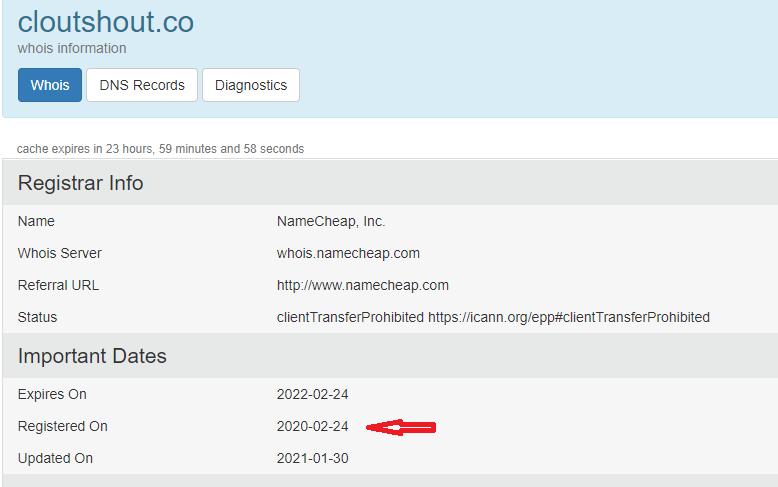 Cloutshout domain registration in 2020-02-24