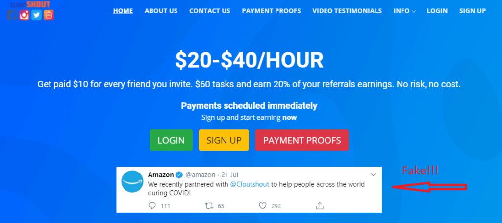 """A fake Amazon comment saying """"We recently partnered with Cloutshout to help the world during Covid"""""""