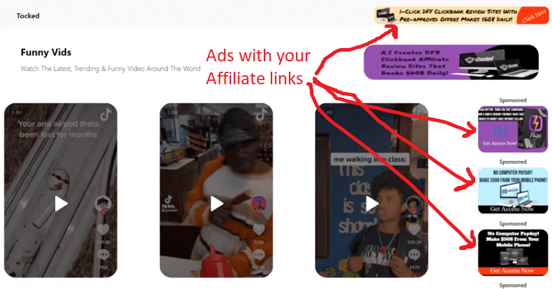 An example of site that Tocked can create with your ads
