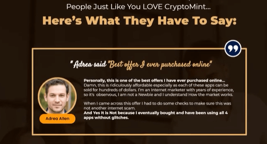 A fake testimonial on the crypto mint sales page. A guy named Adrea Allen giving a fake speech