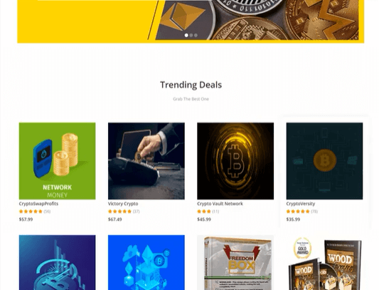 An example of the type of stores you are going to be creating with Crypto Mint. The image shows a page full of crypto products